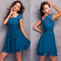 Wholesale Knee Length Lace Ruched Dresses - Fashion A Line Square Knee Length Chiffon Lace Top Homecoming Dresses With Short Sleeve Beaded Ruched Cocktail Party Dresses