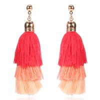 4 cores Bohemian Multilayer Cotton Thread Tassel Drop Earrings Vintage para Mulheres Statement Long Dangle Earring Fashion Jewelry