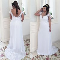 Wholesale deep sweetheart neckline wedding dresses for sale - Group buy Sexy Country Wedding Dresses Deep Neckline Plus Size Beach Wedding Dress Sweetheart Lace Appliques Capped Shoulder Open Back