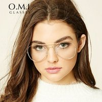Wholesale 2017 Oversized Clear Aviator Glasses Women Ray Transparent Optical Lens Metal Frame Fake Eyeglasses Brand Designer Dropshipping OM293