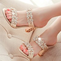 Wholesale Rhinestone Flat Back Red - Wholesale-Bling Ladies Sandals Summer Open Toe Slippers Party Sandals Chunky High Heels Shoes Women Rhinestone Gold Red Size 34-39 LC05-A