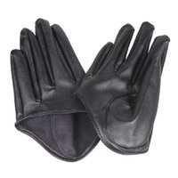 schwarze lederhandschuhe für frauen großhandel-Arbeiten Sie heiße Dame Woman Tight Half Palm Gloves Kunstleder Five Finger Black DM # 6 um