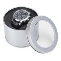 precios de la caja de joyas de plata al por mayor-La caja de presentación redonda de la caja de regalo del reloj de la joyería del metal de la plata del precio bajo con el amortiguador 3.54x2.36