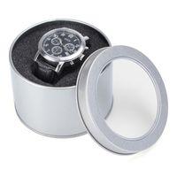"Wholesale Jewelry Display Organizer Metal - Lowest Price Silver Round Metal Jewelry Watch Gift Box Display Case With Cushion 3.54x2.36"" Watch Organizer Box Holder"