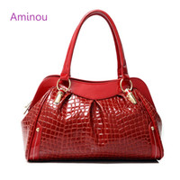 All'ingrosso- 2016 Marchio Design Crocodile Pattern Donne Tote Bag Hobos Soft Bolsa Femme Fashion Ladies Patent Leather Leather Shoulder Bag Organizer