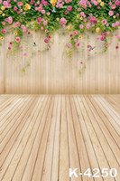 Wholesale Photography Background Wall Prop - wall blossoms flowers wooden floor for baby photos vinyl background backdrop camera fotographical digital studio props photography backdrops