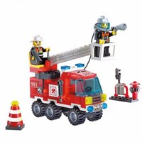 Wholesale Different Combinations set Fire Fighting Truck DIY Building Blocks Educational Puzzle Toys Kids Birthday Gifts