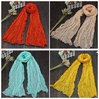Wholesale Plain Scarve - Fashion Women Scarf Shawl Spain Cotton Gauze Kerchiefs Candy Color Scarve Lady Spring Autumn Long Shawl 50*180cm Free DHL 239