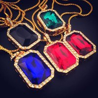 Hip hop Bling Iced Out Big Black Rouge Blue Square Pendentif en pierre Pendentif Collier Collier en chaîne Collier en diamant imitation Bijouterie fine