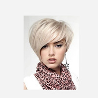 Wholesale synthetic white hair bangs - Fashion Blonde white Short straight Wigs With Bangs Hair 100% Synthetic High Heat Fiber Non Traditionnels Style Wig Women Irregular style