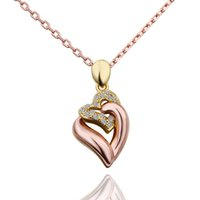 christmas rose plant Canada - New arrival Heart white crystal 18K gold Necklaces,free shipping women's Rose Gold Yellow Gold pendant Necklace include chains EGN573