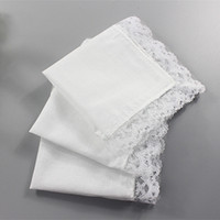 Wholesale Diy Cotton Lace - 120pcs 2017 New Arrival DIY White Pure Handkerchief Cotton lace Handmade Wending party Handkerchief 23*25cm