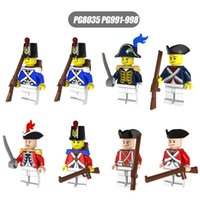 Wholesale Enlighten Brick Military - 8PCS Enlighten Toys Medieval Military Royal Navy Soldiers Figures Royal Guards Gun Weapon Model Building Blocks War Bricks Toys Pirates