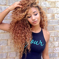 "Wholesale Honey Blonde Lace Front Wigs - Ombre Full Lace Wigs Human Hair #1B 27 honey blonde Hair kinky curly Wigs 8-26"" Glueless Lace Front Wigs"