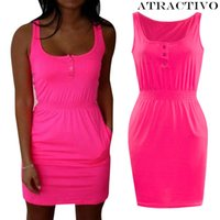 Wholesale Low Cut Tank Dress - Wholesale- Summer Candy Color Low Cut Buttons Pleated Waist Tank Dress Causal Sporting Dress Women Dress