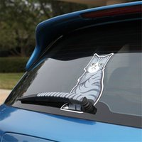 Wholesale Outside Window - Car Auto Vehicle Decal Cat Moving Tail Window Wiper Cute Lovely Funny Sticky Cartoon Animal Kitten Car Outside Styling Decoration mmygt