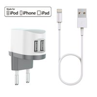 Wholesale Iphone Cable Mfi - HXINH CoolPowr 3.4A(17W) MFi Certified EU Travel Home Wall Charger Kit for iPhone 5 6 7 Plus iPad air pro with a 1M Lightning to USB cable