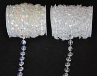 cortinas de cristal guirlanda venda por atacado-Atacado-30 Metros Diamante de Cristal Grânulos de Acrílico Rolo Pendurado Guirlanda Strand Aniversário Do Casamento Decoração de Natal DIY Cortina WT052