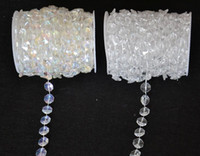 Wholesale rolls curtain - Wholesale-30 Meters Diamond Crystal Acrylic Beads Roll Hanging Garland Strand Wedding Birthday Christmas Decor DIY Curtain WT052