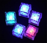 Wholesale led lights for drinking bar resale online - 2400PCS High Quality Flash Ice Cube Water Actived Flash Led Light Put Into Water Drink Flash Automatically for Party Wedding Bars Christmas