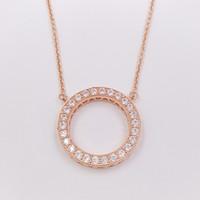 ingrosso crystal heart beads-Autentico 925 perle d'argento cuori di cristallo ciondolo collana adatto gioielli stile europeo Pandora 580514CZ placcato oro rosa per le donne