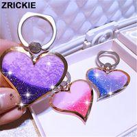 Wholesale Heart Shape Love Phone - Universal POP Liquid Quicksand Glitter Heart Ring Grip Phone Holder for iPhone 7 5s 6 Luxury Shimmering Love Shape Stand Sockets