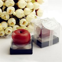 Wholesale Apple Candle Favors - Free Shipping 100PCS Wedding Candle Favors MINI Apple of My Eye Apple Shape Candle Baby Shower Party Favors Birthday Decorative Gifts