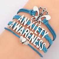 Wholesale Braided Butterfly Bracelet - Wholesale- Anxiety Awareness Letters Bracelet Teal Leather Braid Heart Butterfly Bracelets Bangle For Women Weave Jewelry 8905
