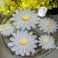 Wholesale Tablecloths Mat - Wholesale- Daisy Table Mat Pads Embroidered Tablecloths Coffee Table Towel Cover Towel Placemats Decor