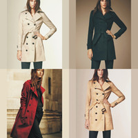 Wholesale Womens High Collar Coats - new arrived High Quality Womens Coat Long Turn Collar Coats Wide Waisted Single Breasted Autumn Outwear 1088