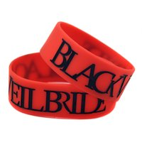 Wholesale bride veil red for sale - Group buy 50PCS Black Veil Bride Silicone Rubber Wristband Black And Red Inch Wide For Music Fans