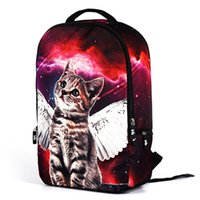 Wholesale Print Galaxy Backpack - 2017 new arrival backpack 3d print galaxy cute little cat kids school bag adult mens weight reduce rucksack good brand bag free shipping