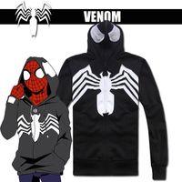 Wholesale Spiderman Jackets - Wholesale- Hero Catcher Cotton Venom Hoodie Black Spiderman Hoodie Venom Jacket Black Spiderman Jacket With Hood