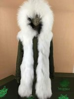 Wholesale Fox Canvas - Popular White fur Mr Mrs itlay fox fur lined canvas army green parka Mr Mrs furs Fur-Lined Cotton Parka With Fur-Trimmed