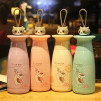 Wholesale Thermal Cup Kids - Creative Stainless Steel cups for kids Vacuum Insulated water bottles with Lid hand rope lovely cat Children mugs