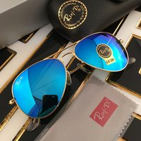 Wholesale Mirror Black Grey - Rui Di 58mm mirror flash sunglasses 2017 pilot glasses for men brand designer sunglasses sun glasses with original box and accessories