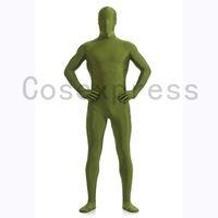 body de color verde oscuro al por mayor-Alta calidad verde oscuro Lycra Spandex Zentai Body superhéroe Cosplay disfraces para Halloween