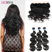 Wholesale Cheap Good Quality Bundles - HCDIVA 3 bundles Body Wave with Lace Frontal Closure Brazilian Virgn Hair Body Wave Lace Fontal Good Quality Cheap Price 100g Natural Color