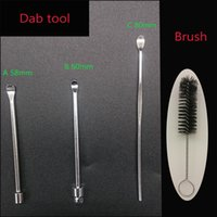 Wholesale Wax Brushes Wholesale - Dab Tool Stainless Steel Metal 56 60 80mm Wax Jar Dabber Titanium Nail And Cleaning Brush For E Cig Atomizer Dry Herb Vaporizer