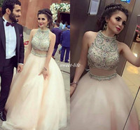 Wholesale Luxurious Ball Gown High Neck - Two Pieces 2017 Luxurious Quinceanera Dresses High Neck Crystals Pearls Organza Prom Gowns Sexy Birthday Dresses Party Gowns