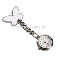 Wholesale Nurse Watch Butterfly - Wholesale-Butterfly Nurse Table Pocket Watch with Clip Brooch Chain Quartz White