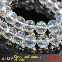 Wholesale 8mm Round Glass Clear Beads - DIY Wedding Party Decpration Clear Round Glass Beads Disco Ball Beads 8mm AB Colors A5003 Stone 72pcs set