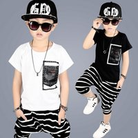 Wholesale Boys Cool Shirt - 2017 High Qulity Kids Boys Clothing Suit Short Sleeves T-shirt + Stripe Shorts Pants 2pcs Set Children Summer Clothes Cool Baby Boy Outfits