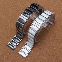diamantes de aço novo relógio de mulher preto venda por atacado-20mm 22mm Preto Branco Cerâmica com pulseiras de aço inoxidável End straight Solid Links Diamante Assista Acessórios Faixas Gerais homens mulheres novo
