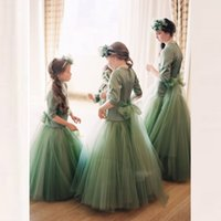 Wholesale Green Ball Gown Wedding Dresses - Cute Green Flower Girl Dresses for Wedding Princess Bow Ball Gown 3 4Long Sleeves 2017 Vintage Child First Communion Dress Kids Prom Dress