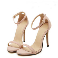 Wholesale vogue ties - 2017 Hot Sale Vogue 4 Color Summer women T-stage Classic Dancing High Heel Sandals Sexy Stiletto Party wedding shoes 11 cm heel