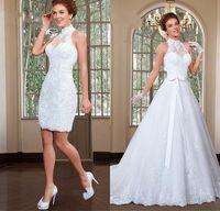 boncuklu yüksek yaka dantel elbisesi toptan satış-Muhteşem Aplike Tül Yüksek Yaka Boyun Çizgisi Gelinlik Boncuklu Dantel 2 In 1 A-Line Gelin Elbise Vestido De Noiva