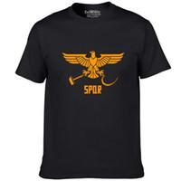 Wholesale Gowns Ancient - Spqr eagle T shirt Senatus Populusque Romanus short sleeve gown Ancient Rome tees Leisure unisex clothing Quality cotton Tshirt