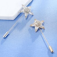Wholesale Suit Wedding Star - New Arrival Fashion Scarf Star Lapel Stick Pins Cubic Zirconia Brooches for Women Romantic Brooches Suit Collar Men Jewelry Gift
