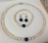 Wholesale Lapis Pearl Jewelry - Free Shipping >>>>7-8mm White Akoya Cultured Pearl & Lapis Lazuli Necklace Bracelet Earrings Set
